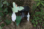 Luna Moth and Moon Flower Leather Mask by SilverCicada