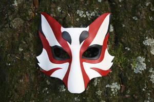 Kabuki Kitsune Leather Mask by SilverCicada