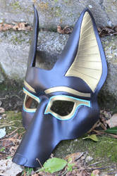 One Drop Turquoise Anubis Leather Mask by SilverCicada