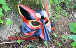 Black Red and Gold Leather Kabuki Kitsune Mask. by SilverCicada
