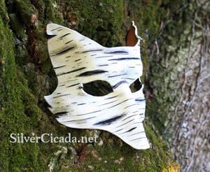 Birch Bark Leather Fox Mask
