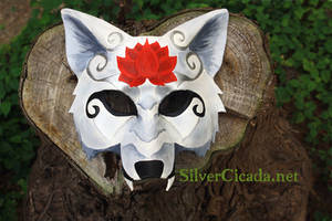 Red Lotus White Wolf Leather Mask by SilverCicada