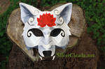 Red Lotus White Wolf Leather Mask