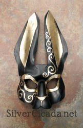 Regal rabbit leather mask with gold leaf by SilverCicada