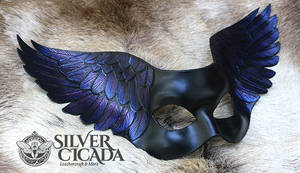 Raven wing leather mask by SilverCicada