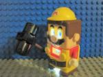 Lego Builder Mario with a hammer