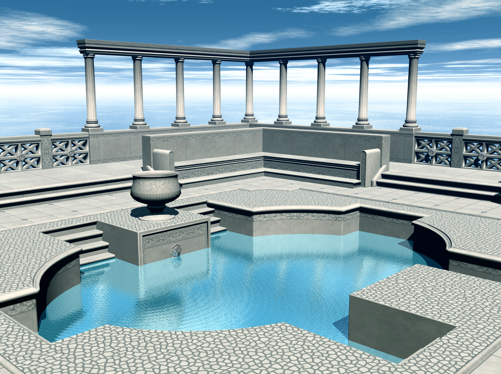 Grecian Pool-Scene Stock by shd-stock