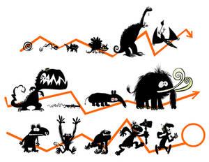 Evolution silhouettes.