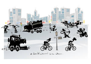 Urban-primitive cartoon.