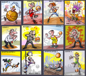 Funny Basketball characters for a card game.
