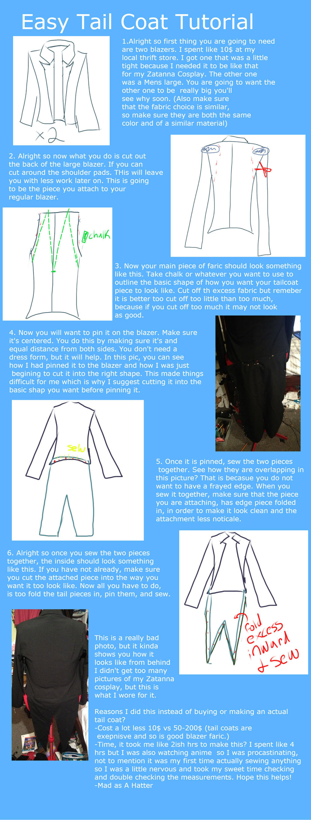 Easy Tail Coat tutorial by CaptainMadAsAHatter