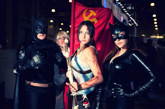 Lara Croft + Batman + Catwoman+ Soviet flag
