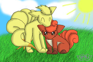 Chibi Vulpix and Ninetales: Sunny Afternoon by SpyraEevee
