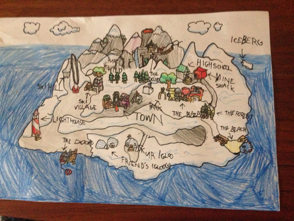 My Club Penguin map drawing by SlenderNight8PGS