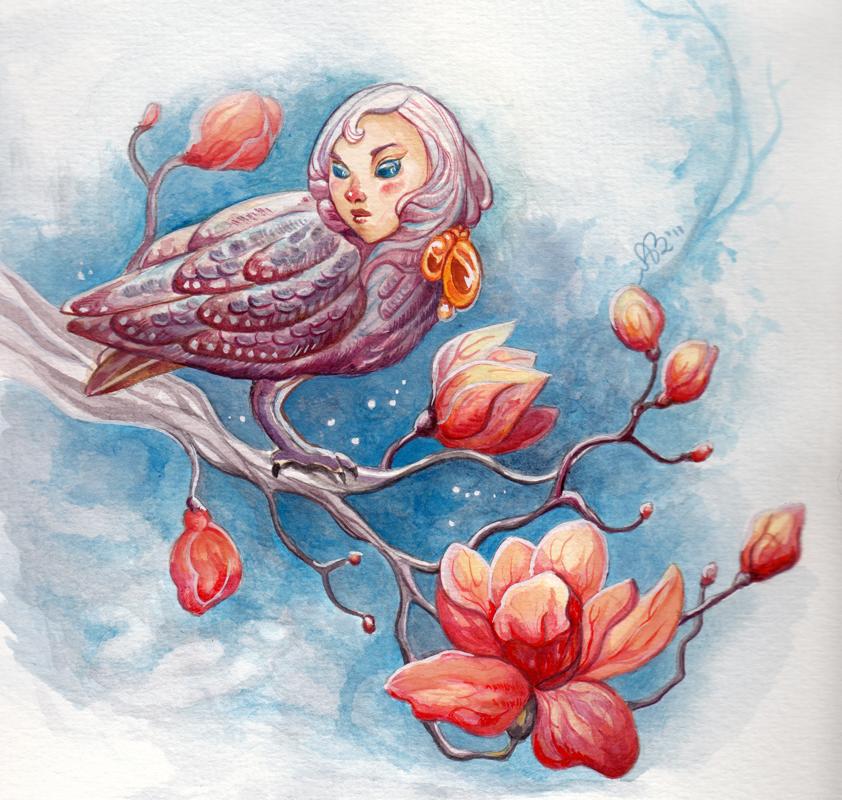 Bird in a tree by AniaMohrbacher