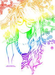 Rainbow Cute Girl~ //Line Art Colored// by NeonArianna