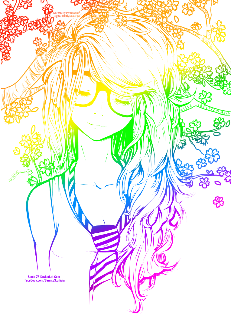 Line Drawing Rainbow : Rainbow cute girl line art colored by neonarianna on