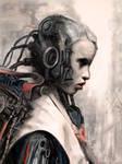 Cyborg girl at charging station