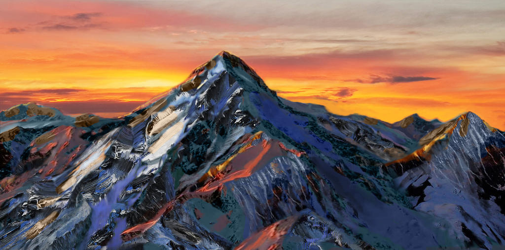Pyramid mountain at dawn - new expressionism