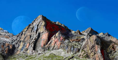 Colorful alien Rockies 3D