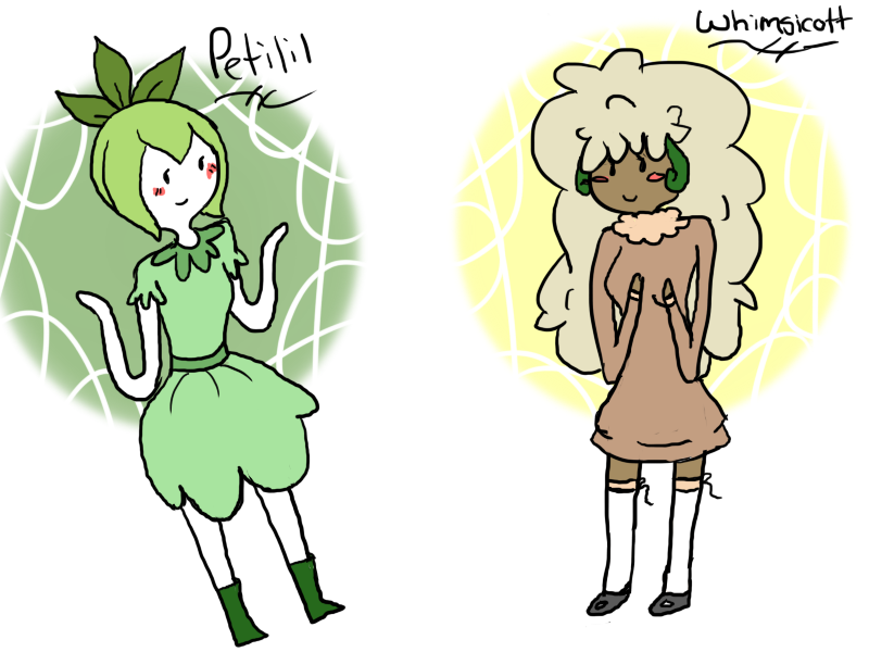 Petilil and Whimsicott by Kalliely
