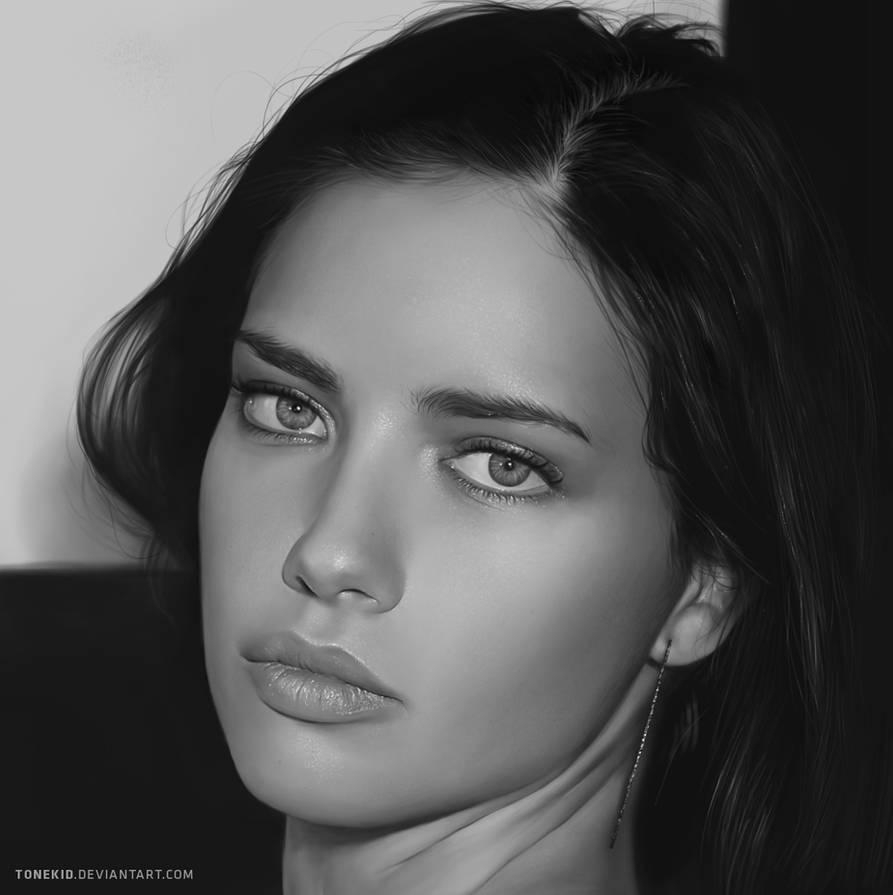 Adriana Lima Portrait by TONEKID