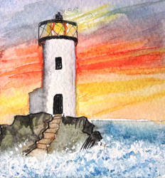Sunset Lighthouse World Watercolour Month Day 5 by MontyMouse