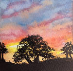 Thursday's Sunset World Watercolour Month Day 21 by MontyMouse