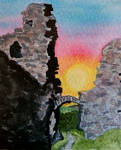Castell Dinas Bran World Watercolour Month Day 30 by MontyMouse
