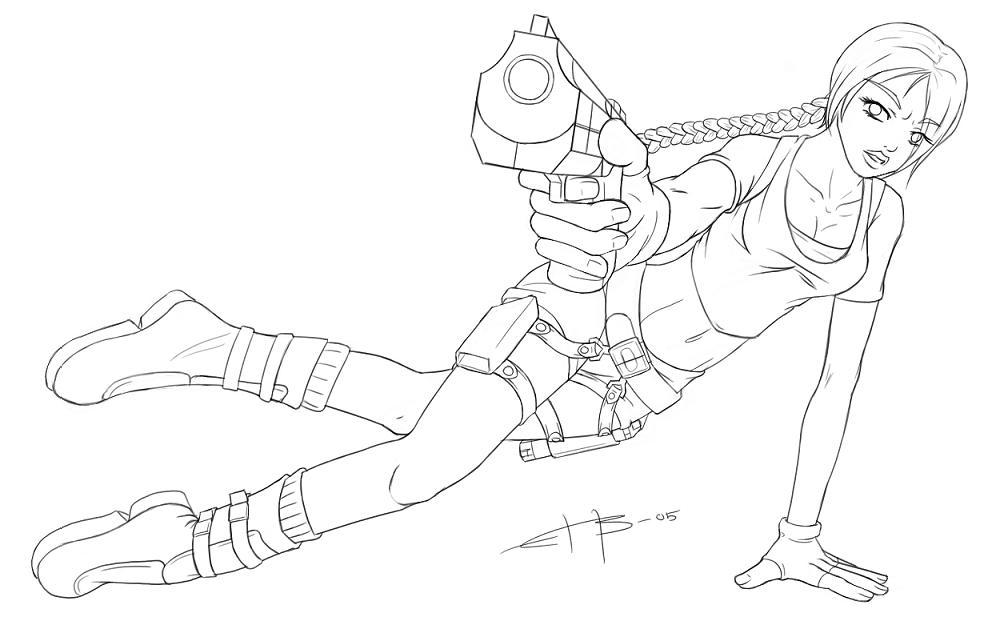 lara croft lineart by scarabus - Lara Croft Coloring Pages