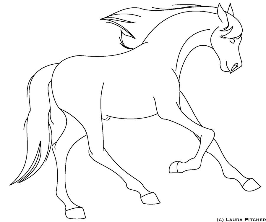 Horse Running Line Art 6 by purapuss