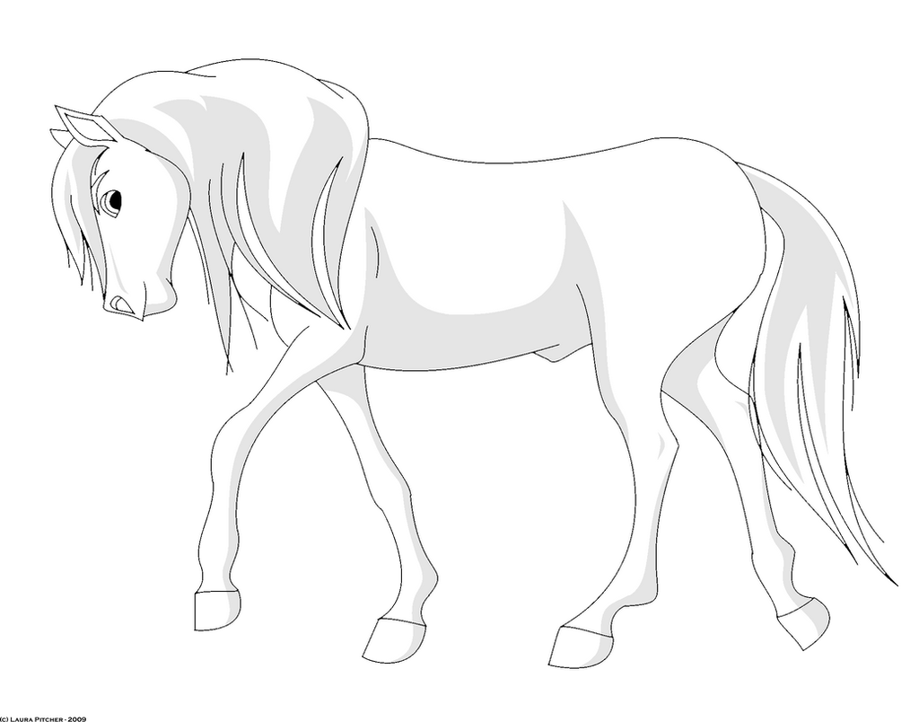 stallion lineart shaded by purapuss on deviantart