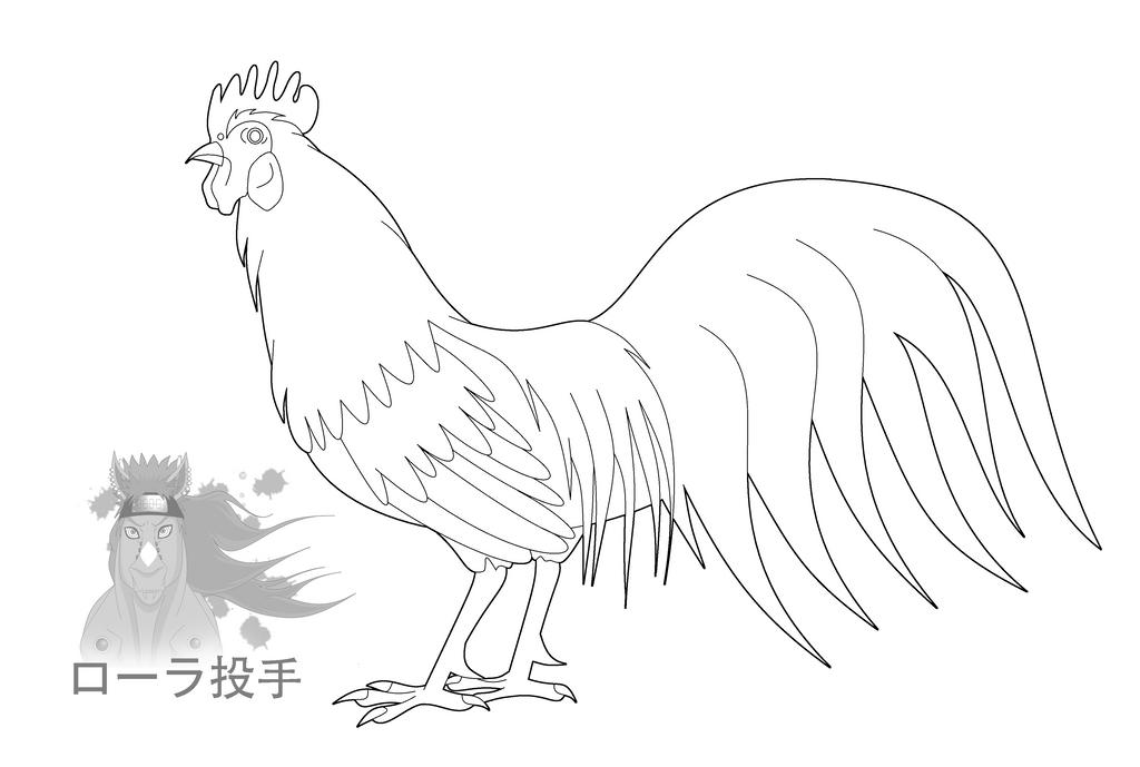 Chicken Line Art 2 by purapuss