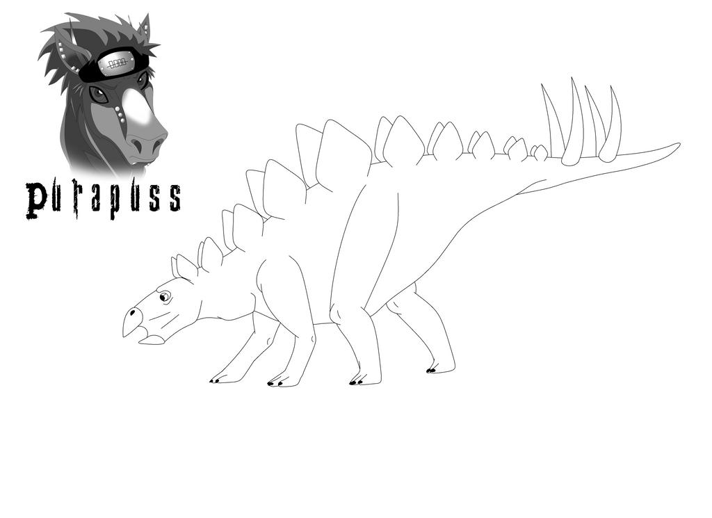 Stegosaurus Line Art by purapuss