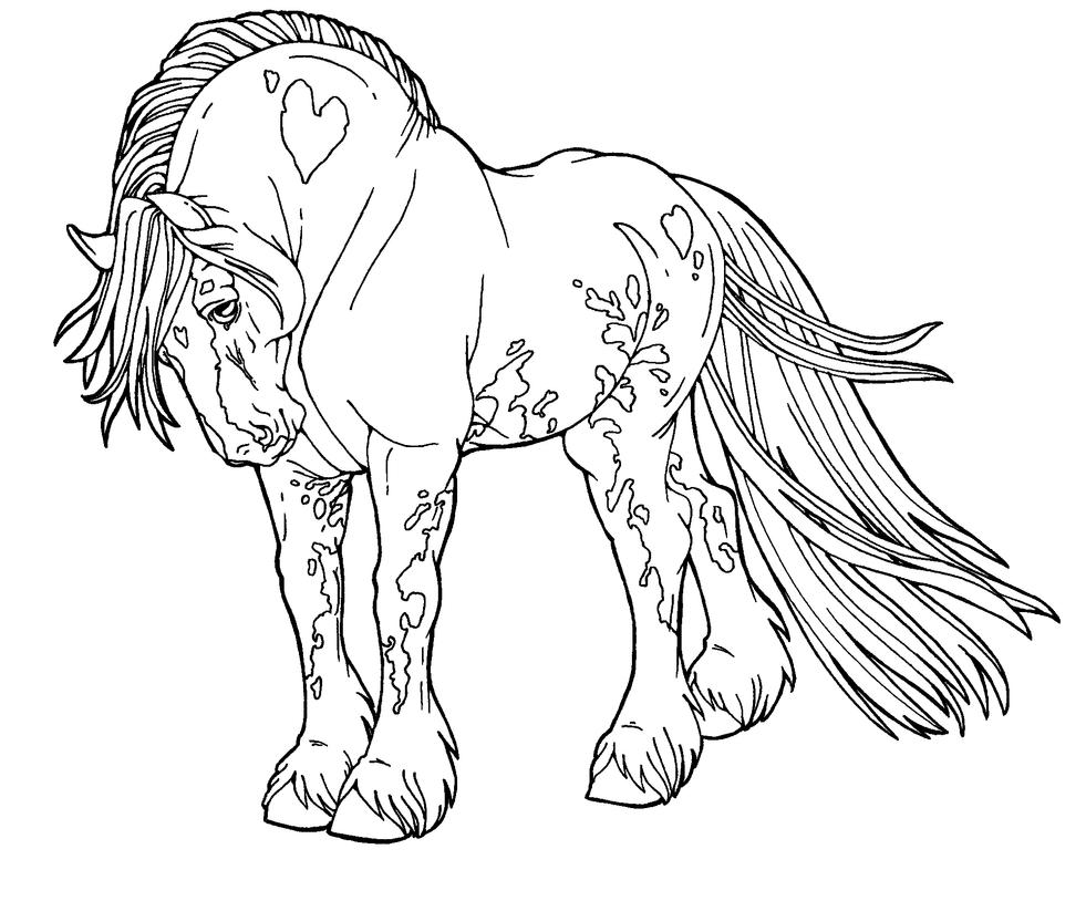 Free lines gypsy drum horse by applehunter on deviantart for Detailed horse coloring pages