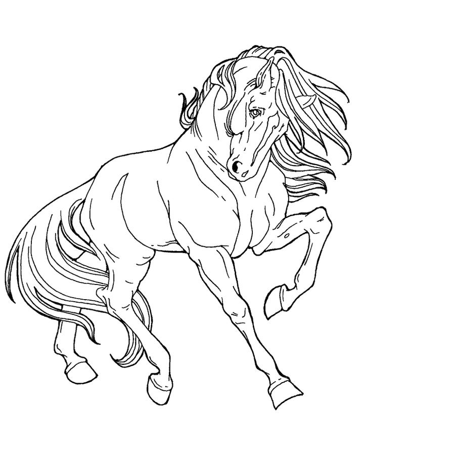Free Line Art Proud Horse By Applehunter On Deviantart