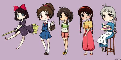 Ghibli Girls by mogusq
