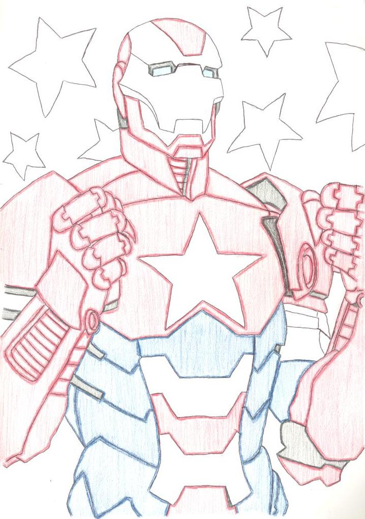 iron patriot colouring pages - Iron Man Patriot Coloring Pages