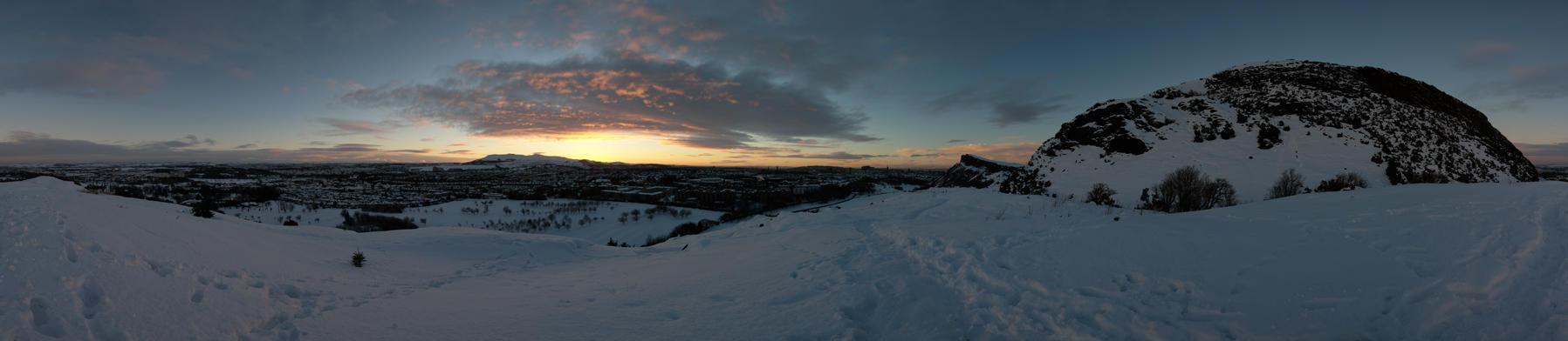 Sunset on Snowy Edinburgh