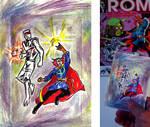 ROM spaceknight   Dr. Strange team up sketch card