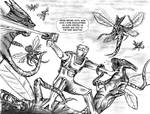 ROM spaceknight vs The Brood sketch full view