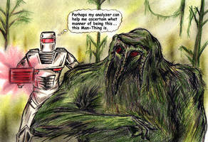 ROM spaceknight encounters The Macabre Man-Thing by csuhsux