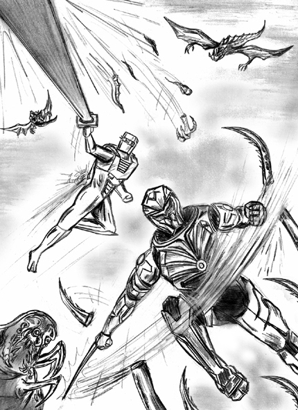 Rom spaceknight and Onyx team up sketch art