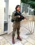 Beautiful IDF soldier protecting The Old City