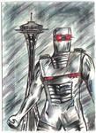 Spaceknight in Seattle sketch card fan art