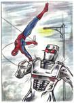Rom spaceknight Spider Man team up sketch card