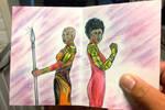 Okoye and Misty Knight greeting card fan art