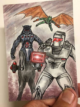 ROM spaceknight vs Baron Karza centaur sketch card