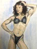 Ms Muscle Fitness pastel drawing 1995 by csuhsux
