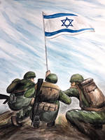 IDF soldiers water color painting 2006 by csuhsux